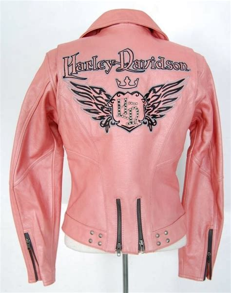 pink motorcycle jacket harley davidson jacket women m medium pink leather biker