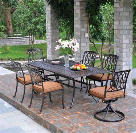 Patio Furniture Hanamint by Rectangular Dining Set Hanamint Cast Aluminum The