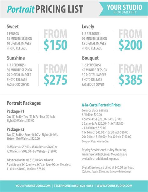 pricing template photography package pricing photographer price list