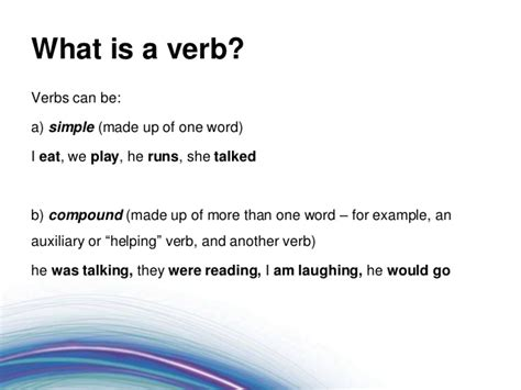 foundations of grammar 3 what is a verb