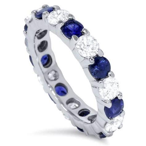 Blue Sapphire 5 3ct 3ct blue sapphire eternity wedding ring 14k