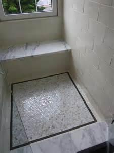 penny tiles:  tile tile bathrooms shower benches shower seats subway tile
