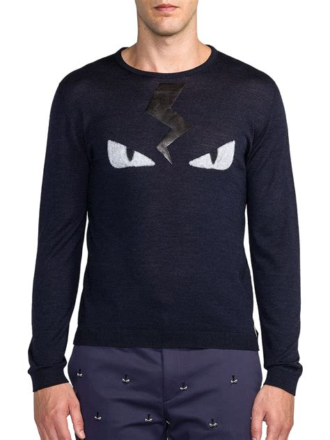 Sweater Fendi Fendi Wool Blend Sweater In Blue For Lyst