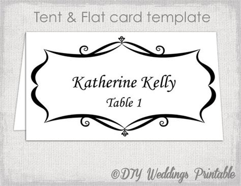 wedding name card template free place card template tent and flat name card templates