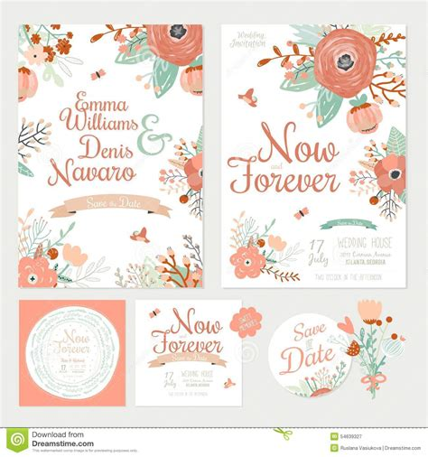 Wedding Card Labels by Vintage Floral Save The Date Invitation Stock