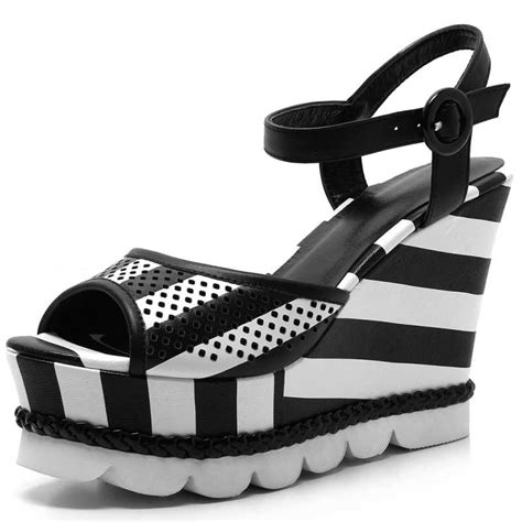 black and white shoes grain leather summer sandals