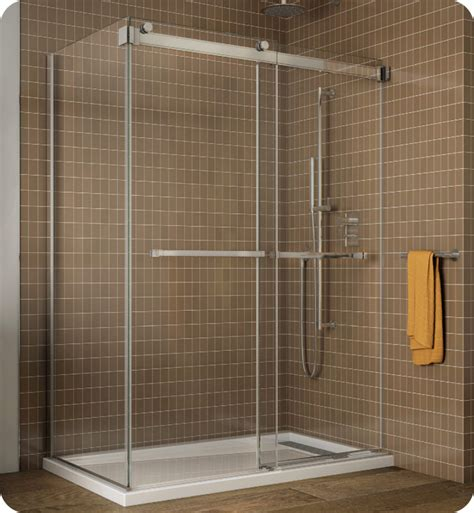 What Is A Bypass Shower Door Fleurco Ngu60 Gemini Frameless Bypass 60 Sliding Shower Doors With Return Panel
