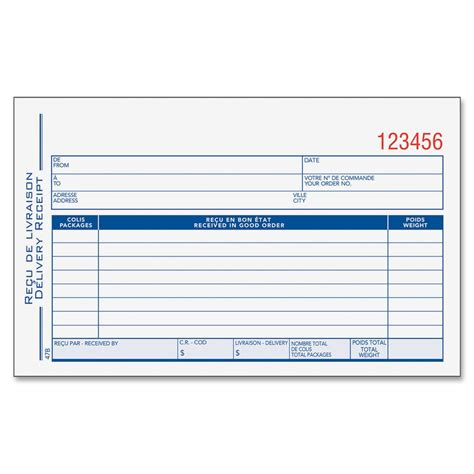 delivery receipt template 6 best images of free printable delivery receipt