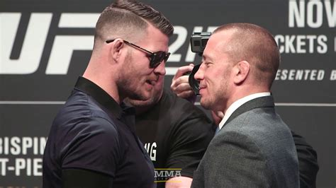 gsp bench press ufc 217 michael bisping vs gsp staredown