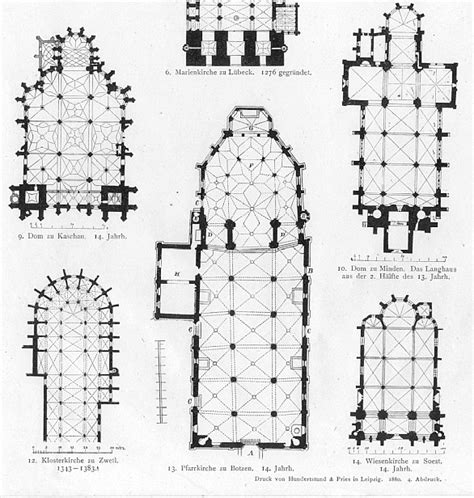 german church floor plans gothic architecture print