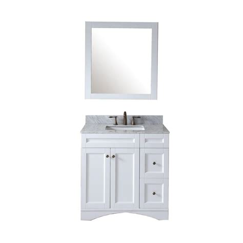 White Marble Vanity Top by Virtu Usa Elise 36 In Vanity In Antique White With Marble
