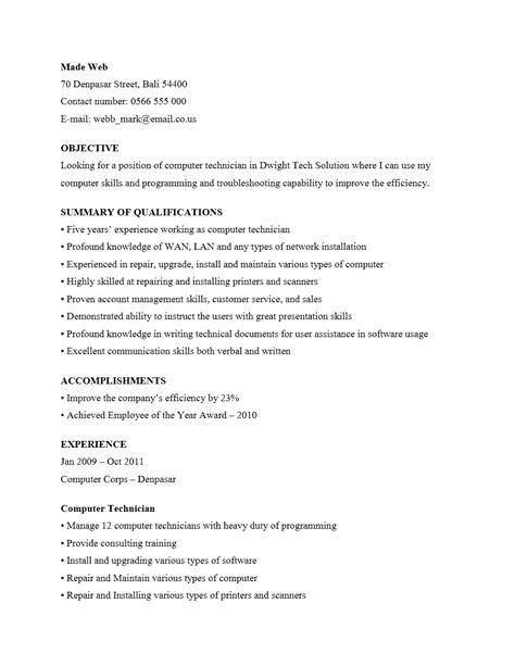 curriculum vitae teknisi komputer yang menarik contoh surat org