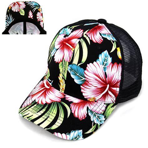 Floral Mesh Baseball Cap hawaiian flower floral hat cap mesh trucker snapback