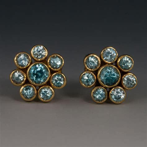 Blue Flower Stud Earrings Gold 18k yellow gold blue zircon flower studs