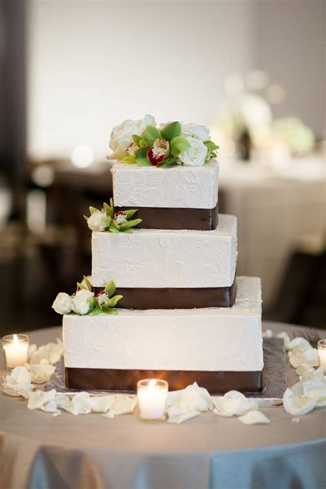 square wedding cake square wedding cake with brown satin ribbon elizabeth