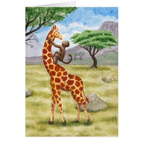 printable birthday cards giraffe giraffe and monkey greeting card zazzle