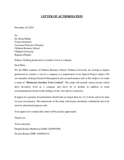 Permission Letter To Visit School Hindustan Machine Tools Limited