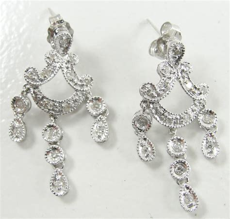chandelier earrings chandelier earrings wedding 1 00ct white gold