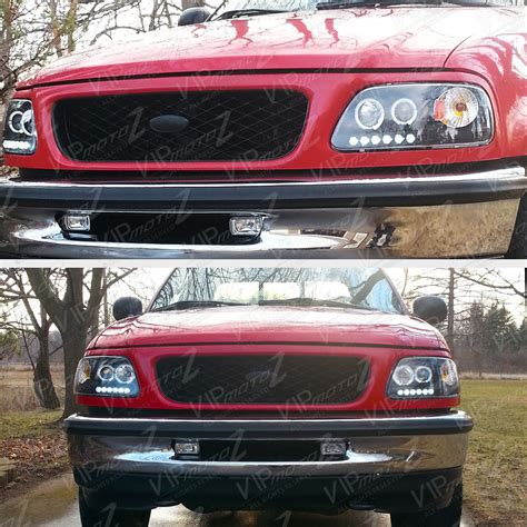 1997 ford f150 headlights 1997 2003 ford f150 black led halo projector headlights