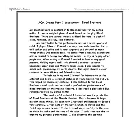 Blood Brothers Gcse Drama Essay by Blood Brothers Gcse Drama Marked By Teachers