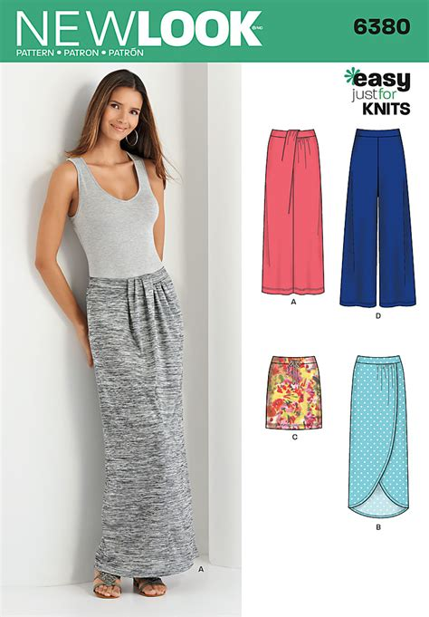 sewing pattern simple knit skirt new look 6380 misses knit skirts and pants sewing pattern