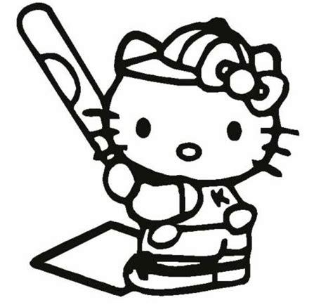 Hello Kitty Baseball Coloring Pages   details about hello kitty softball baseball car decal