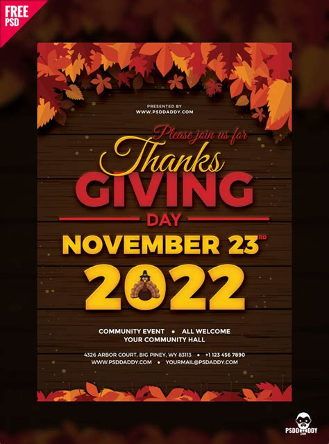 thanksgiving flyer  psd psddaddycom