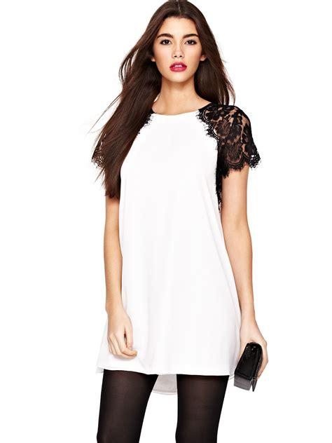 tfnc swing dress tfnc tfnc lava lace swing dress in white black white lyst