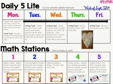 daily 5 lesson plan template daily 5 math stations visual lesson plans september