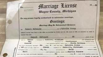 Marriage License Hopes To Find Family Of Lost Michigan Marriage