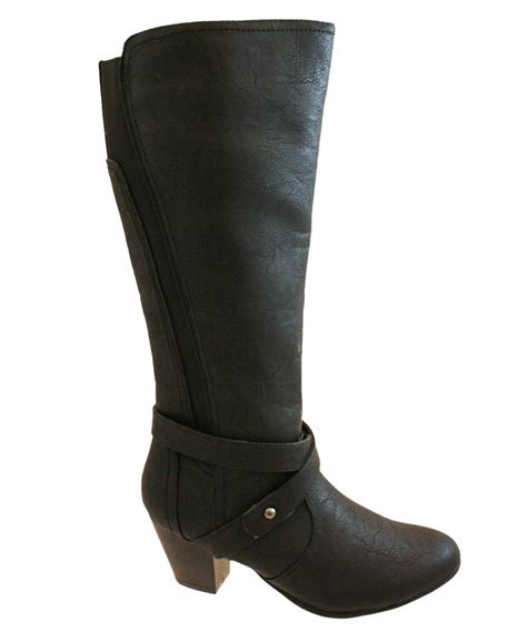 womens comfort plus wide fit knee calf boots black
