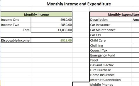 income and expenditure form template exle income and expenditure form debt advice