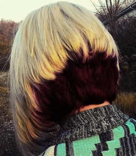 two tone bob hairstyle two tone stacked bob inverted bob haircut with blonde and