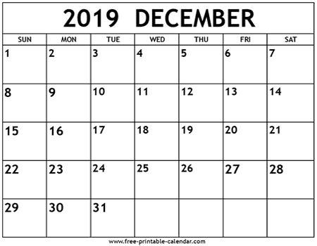 december  calendar template  printable calendarcom