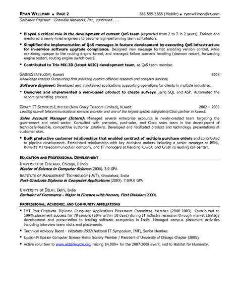 resume format for software engineer in usa resume sle 19 software engineering professional