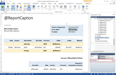 format date report builder formatting report data docentric ax