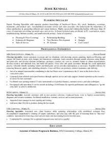 Flooring Installer Sle Resume by Free Flooring Specialist Resume Exle