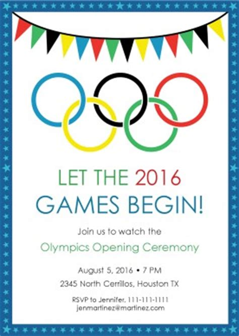 Printable Olympics Viewing Party Invitation Template Olympic Invitation Template