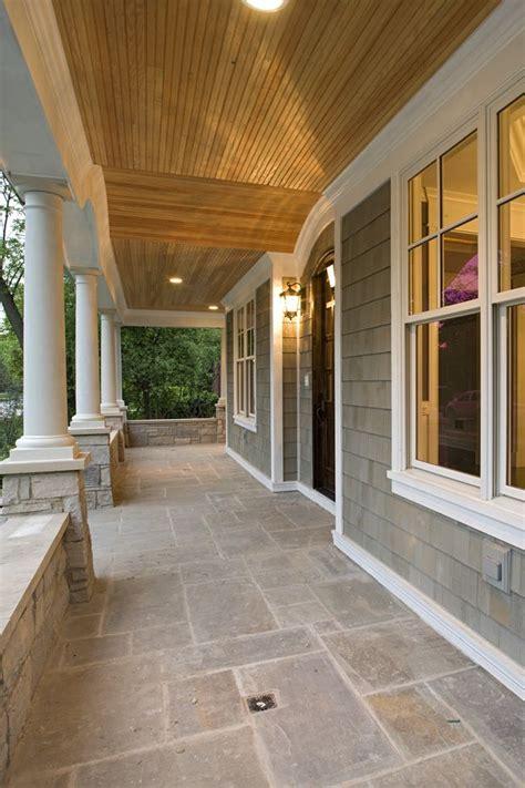grey shingles  cedar ceiling  white trim