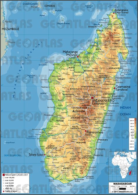 physical map of madagascar geoatlas countries madagascar map city illustrator