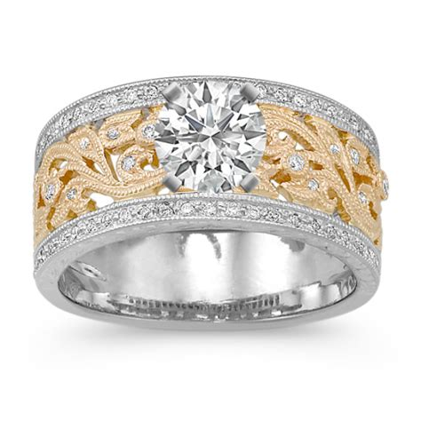 vintage two tone engagement ring with pav 233 setting