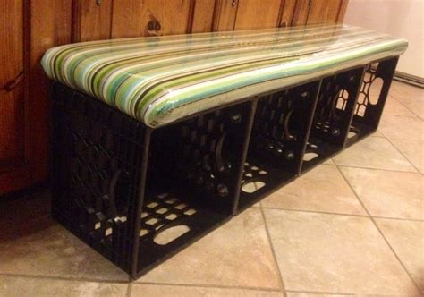 crate bench milk crate storage bench outside ideas pinterest