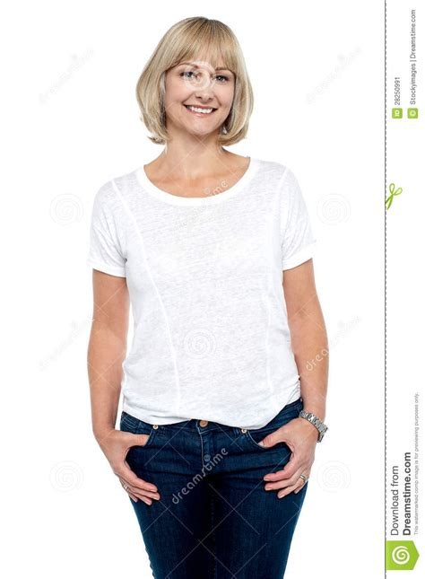 clothing for middle aged women middle aged woman in trendy clothing smiling at you stock
