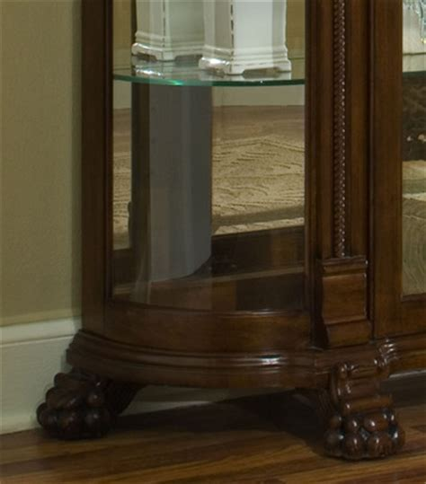 pulaski curved glass curio cabinet curved end curio cabinet in foxcroft brown by pulaski