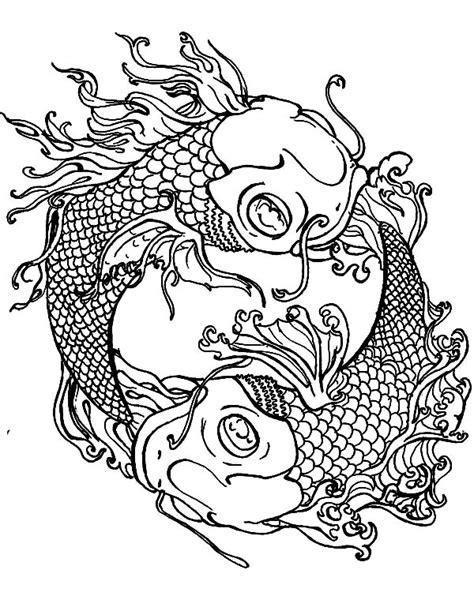 online yin yang coloring pages koi fish yin yang coloring pages download print online