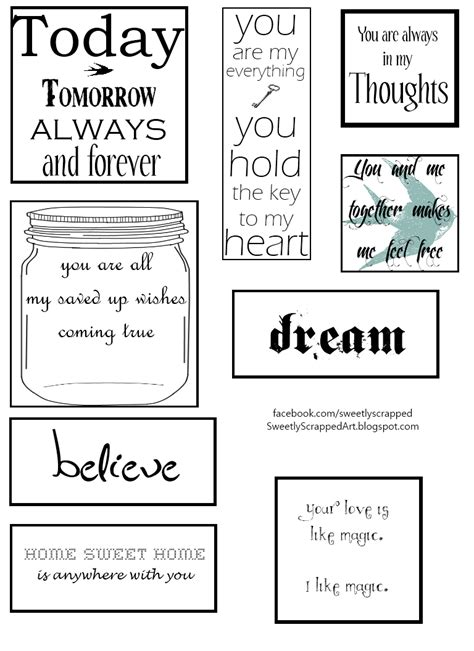 free printable quotes templates sweetly scrapped free printables to add to your smash book