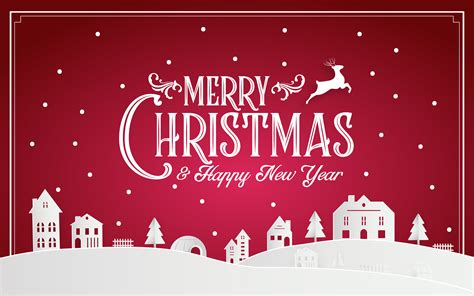 merry christmas  happy  year   snowy home town  typography font message red