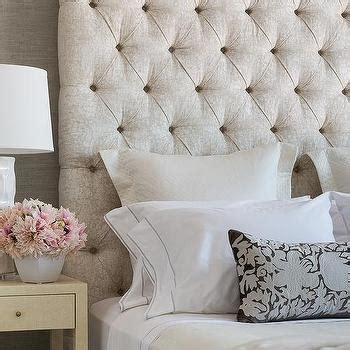 cream tufted headboard cream and gray bedroom with gray grasscloth transitional