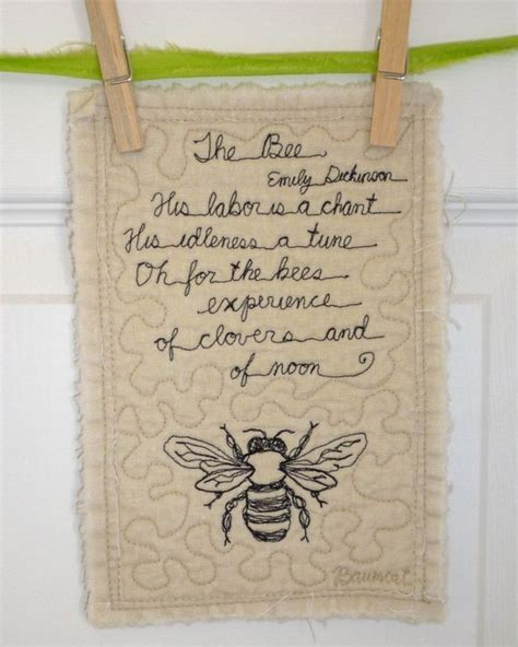 Poems About Quilting by The Bee Poem Mini Quilt Emily Dickinson By Baumcat On Etsy