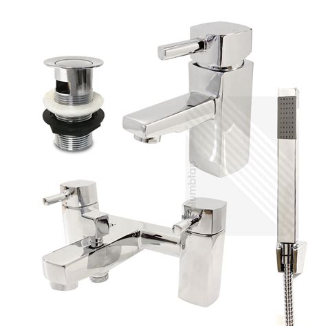 Bathroom Taps And Showers Modern Basin Mixer And Bath Filler Shower Tap Pack Including Accessories